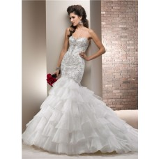 Fitted Mermaid Sweetheart Satin Embroidery Tiered Organza Ruffle Wedding Dress