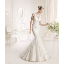 Fitted Mermaid V Neck And Back Lace Wedding Wedding Dress With Sheer Straps
