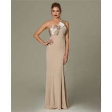 Fitted One Shoulder Long Champagne Chiffon Occasion Evening Dress With Bow