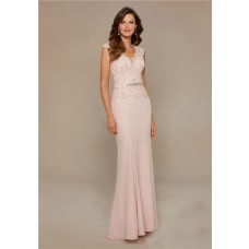 Fitted Scalloped Neck Cap Sleeve Blush Pink Chiffon Lace Evening Dress Crystals Sash