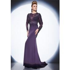 Fitted Sheer Illusion Neckline Long Sleeve Dark Purple Chiffon Lace Evening Dress