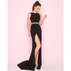 Fitted Sleeveless High Slit Long Black Jersey Beaded Evening Prom Dress