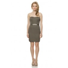 Fitted Strapless Short Clay Chiffon Wedding Party Bridesmaid Dress Beaded Belt
