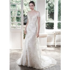 Fitted Trumpet Illusion Bateau Neck Backless Lace Sleeve Wedding Dress