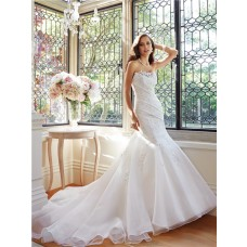 Fitted Trumpet Mermaid Strapless Organza Lace Applique Beaded Wedding Dress Chapel Train