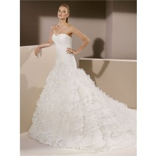 Fitted Trumpet Mermaid Strapless Sweetheart Tulle Ruffle Wedding Dress Court Train