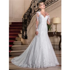 Fitted Trumpet V Neck Sheer Back Long Sleeve Tulle Lace Wedding Dress With Buttons