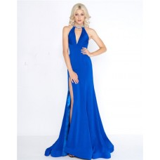 Fitted V Neck Beaded Halter Open Back Royal Blue Jersey Prom Dress With Slit