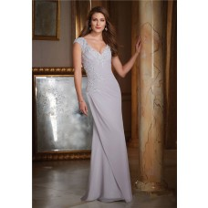 Fitted V Neck Cap Sleeve Silver Chiffon Applique Beaded Mother Of The Bride Evening Dress