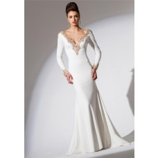 Fitted V Neck Low Back Long Sleeve White Chiffon Gold Beaded Evening Prom Dress