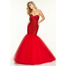 Flare Mermaid Sweetheart Red Tulle Beaded Prom Dress Corset Back