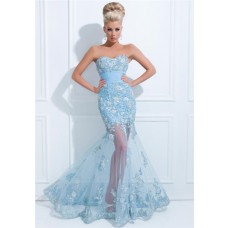Flared Mermaid Strapless Long Light Blue Tulle Floral Applique Prom Dress Sheer Skirt