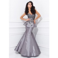 Flared Mermaid Sweetheart Neckline Grey Taffeta Applique Peplum Evening Prom Dress