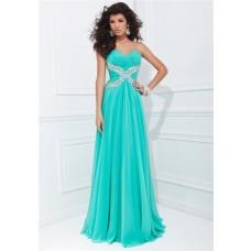 Flowing A Line Strapless Aqua Chiffon Rhinestone Beaded Long Prom Dress