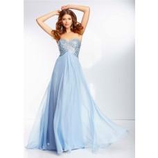 Flowing A Line Sweetheart Empire Waist Light Blue Chiffon Beaded Prom Dress Open Back