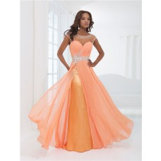 Flowing Illusion Neckline Cap Sleeve Backless Long Orange Chiffon Beaded Prom Dress