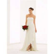 Flowing Strapless High Low Chiffon Beaded Destination Beach Wedding Dress