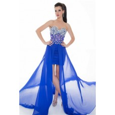 Flowing Strapless Long Royal Blue Chiffon Beaded Sheer Corset Party Prom Dress