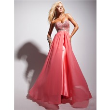 Flowy Sweetheart Long Watermelon Red Silk Chiffon Beaded Prom Dress