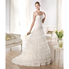 Folk Style A Line Sweetheart Low Back Tiered Tulle Lace Wedding Dress With Straps