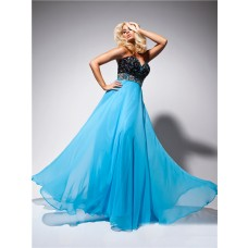 Formal A Line Princess Sweetheart Long Black Blue Chiffon Prom Dress With Beading