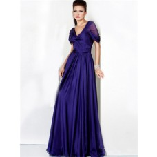 Formal A Line V Neck Long Royal Blue Chiffon Evening Dress With Sleeve