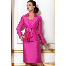 Formal Pink Three Piece Women Evening Suit With Long Sleeve