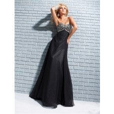 Formal Sheath Sweetheart Long Black Chiffon Evening Prom Dress Beading Crystals