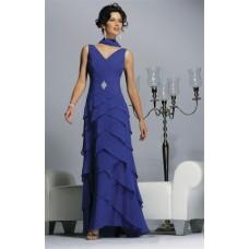 Formal Sheath V Neck Long Blue Chiffon Tiered MOB Women Evening Wear Dress