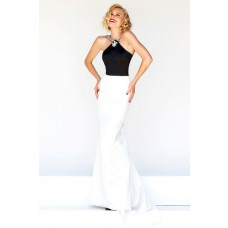 Formal Slim Sheath Halter Long Black White Satin Evening Prom Dress Open Back