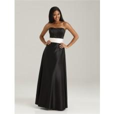 Formal sweetheart floor length long black silk bridesmaid dress with sash