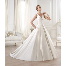 Glamorous Princess A Line V Neck Open Back Satin Wedding Dress With Draped Sash