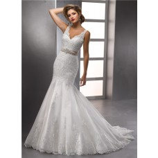 Glamorous Trumpet/ Mermaid Straps V neck Beaded Lace Wedding Dress With Crystals Belt
