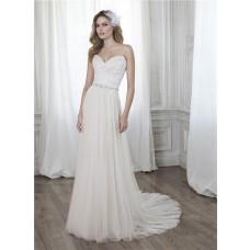 Glamour A Line Sweetheart Ruched Tulle Applique Corset Wedding Dress