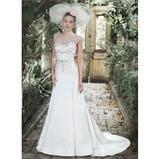Gorgeous A Line Bateau Neck Backless Satin Crystal Beaded Wedding Dress Cap Sleeves