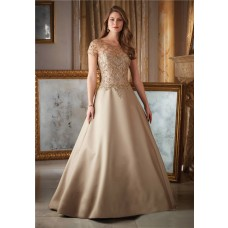Gorgeous A Line Long Gold Satin Tulle Beaded Formal Occasion Evening Dress With Sleeves