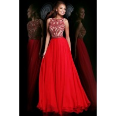 Gorgeous A Line Scoop Neck Sleeveless Long Red Chiffon Beading Evening Prom Dress