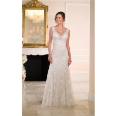 Gorgeous A Line Sweetheart Backless Lace Beaded Crystal Wedding Dress