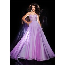 Gorgeous A Line Sweetheart Lilac Chiffon Beaded Flowing Long Prom Dress