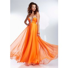 Gorgeous A Line Sweetheart Long Orange Chiffon Beaded Prom Dress Corset Back