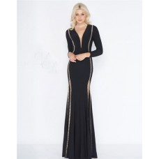 Gorgeous Deep V Neck Full Back Long Sleeve Black Jersey Beaded Evening Dress With Slit