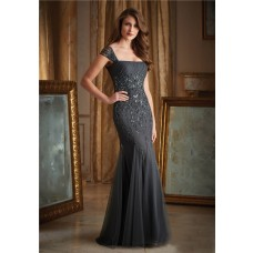 Gorgeous Mermaid Charcoal Grey Tulle Beaded Evening Dress With Cap Sleeves Straps