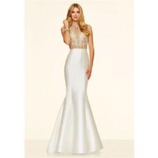 Gorgeous Mermaid High Neck Cap Sleeve White Taffeta Gold Beaded Prom Dress Open Back
