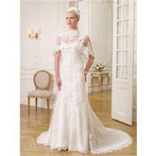 Gorgeous Mermaid Strapless Vintage Lace Beaded Crystal Wedding Dress With Capelet
