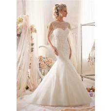 Gorgeous Mermaid Sweetheart Organza Crystal Beaded Wedding Dress With Cap Sleeve Jacket