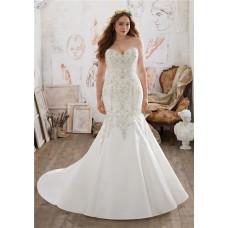 Gorgeous Mermaid Sweetheart Satin Crystal Beaded Plus Size Wedding Dress Corset Back