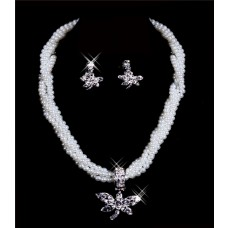 Gorgeous Pearls crystal wedding Jewelry Set Including Necklace,Earrings