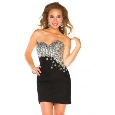 Gorgeous Strapless Short/ Mini Black Chiffon Ruched Beaded Homecoming Prom Dress