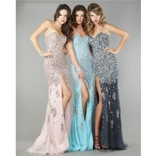 Gorgeous Sweetheart High Slit Long Blue Chiffon Heavy Beaded Evening Prom Dress