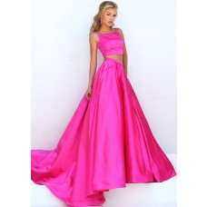 Gorgeous Two Piece Hot Pink Silk Satin Prom Dress With Spaghetti Straps Buttons